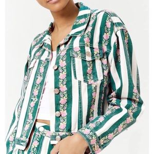 Green and White Striped Floral Denim Jacket
